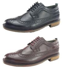 Silver Street Fenchurch Brogue Mens Leather Lace Up Cleated Burgundy Black Shoes