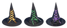 Adult Witches Hat with Ribbon Witch's Halloween Accessory Party Costume Black