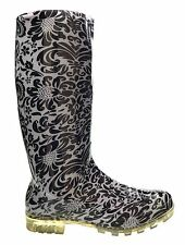 LADIES FUNKY WHITE & BLACK FLORAL WELLIES SIZE 4 5 6 6.5 7 FESTIVAL RAIN WELLYS
