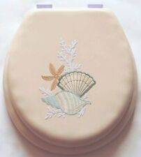 17 Cushioned Toilet Seat With Embroidery Design - Seashell
