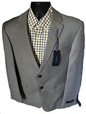 $400 TOMMY HILFIGER SUIT JACKET BLAZER COAT GREY 100% WOOL SOLID TWO BUTTON