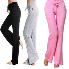 Womens Fashion Modal Comfortable Yoga Gym Sports Square Dance Long Pants Welcome