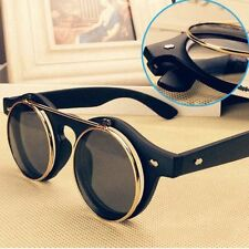 New Hot Steampunk Goggles Glasses Retro Flip Up Round Sunglasses Vintage FY