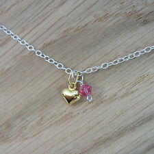 Sterling Silver Bracelet /Anklet with 24k Gold Plated Heart Charm & Crystal Drop