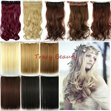 100% Natural 3/4 Full Head Clip In Hair Extensions Real Ombre Straight Curly H97