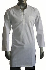 Men's Cotton Indian Kurta Shirt Plus Size White Solid Loose Fit All Size Availab