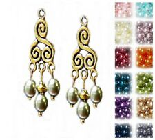 Earrings antique gold chandelier pearl, choose color and clip on or pierced