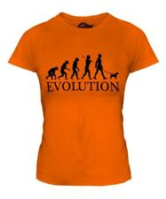 PARSON RUSSELL TERRIER EVOLUTION OF MAN LADIES T-SHIRT TOP DOG WALKER WALKING