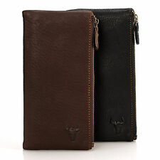 Men's Leather Double Zipper Checkbook Card Holder Clutch Wallet Purse Billfold