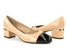 New Delman Women's Natural Patent Leather Round Toe Pumps RTL $398