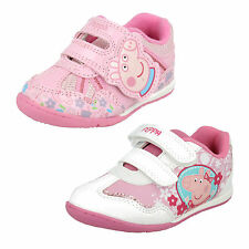 GIRLS SIZE PINK KIDS RIPTAPE STRAP PEPPA PIG GLITTER INFANT FLAT TRAINERS SHOES