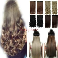 Real Natural 3/4 Full Head Clip In Hair Extensions Real Ombre Straight Curly H98