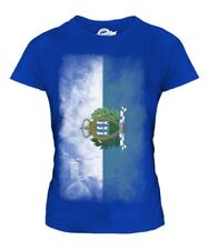 SAO TOME E PRINCIPE FADED FLAG LADIES T-SHIRT TEE TOP SAO TOME E PRINCIPE TOMEAN