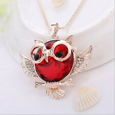 Tide Vintage  Pendant Owl  necklace Statement Round shape Chain Hot Rhinestone