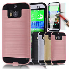 for HTC ONE M8 Armor Hybrid Brushed Rugged Impact Case Slim Body COVER Protector