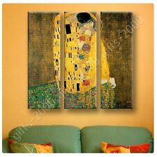Synthetic CANVAS +GIFT The Kiss Gustav Klimt 3 Panels Pictures Paints Giclee