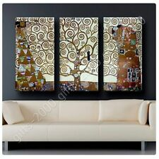 Synthetic CANVAS +GIFT Tree Of Life Gustav Klimt 3 Panels Painting Giclee