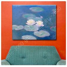 Synthetic CANVAS +GIFT Water Lilies Claude Monet Wall Decor Prints Giclee