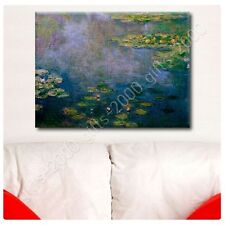 Synthetic CANVAS +GIFT Water Lilies Claude Monet Paintings Giclee Prints