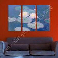 Synthetic CANVAS +GIFT Water Lilies Claude Monet 3 Panels Paintings Prints