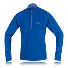 Gore Essential Thermo Mens Blue Microfibre Half Zip Long Sleeve Running Top