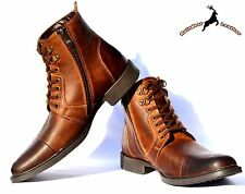 Men's Ankle Length Smart Lace-up Cowhide Leather Boot Shoes Handmade With Fur