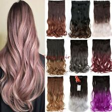 US 4/3Full Head Clip in on Hair Extensions Real thick human synthetic Ombre B910