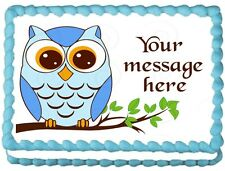 BLUE OWL Birthday Party Cake topper Image Edible decoration