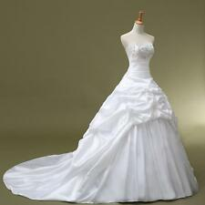 New White Ivory Pleat Train Bride Customize Wedding Dress 2 4 6 8 10 12 14 16 18