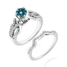 1 Carat Blue Diamond By Pass Wedding Solitaire Bridal Ring Band 14K White Gold