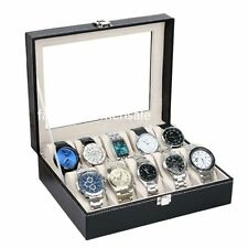 Leather Watch Display Case Jewelry Collection Storage Organizer Box 10 Grid CAF
