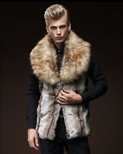 Winter Men's Faux Rabbit Fur Coat Jacket Boy Warm Fur Lapel Gilet Vest Waistcoat