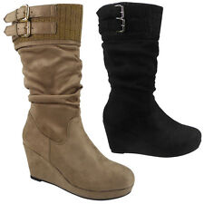 WOMENS LADIES MID CALF BUCKLE SOCK BOOTS WORK CASUAL MID HEEL WEDGE SHOES SIZE