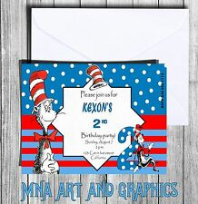 DR Seuss Cat in the hat INVITATION PERSONALIZED children Dr Seuss INVITATIONS