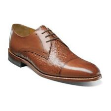 New Stacy Adams Mens Shoes Madison II Cap Toe Cognac Leather Floral 00073-221