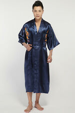Chinese Silk/satin Men's Dragon Kimono Robe Gown Bathrobe SZ S - 3XL Navy Blue