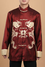 Chinese Dragon Kung Fu Silk Men's clothing Jacket/coat Tops SZ: M-XXXL Burgundy