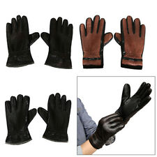 Men Leather Motorcycle Winter Warm Gloves Full Finger Mittens Women Outdoor Driv