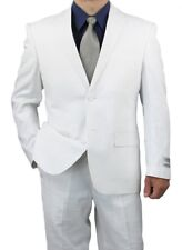 Sharp 2pc Men Suit Comfortable Linen Cotton Blend - White 34S-56L tb41 $399