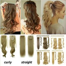 Clip In Hair Extension Ponytail As Human Pony Tail Hair Piece Long Blonde H914