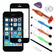 Front outer Screen Glass Lens Replacement for iPhone 5 SE 5S Black Tool UV Glue