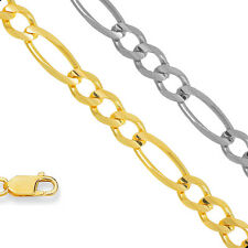 14k Solid Yellow Or White Gold 2.8mm To 7mm Figaro Chain Bracelet Necklace