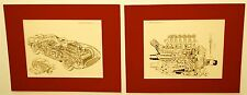 FERRARI 335 S MILLE  MIGLIA 1957 PRINT SET OF CUTAWAY ILLUSTRATIONS CAR & ENGINE