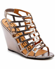 Kelsi Dagger Eris Pewter Faux Leather Wedge Sandal Sz   9  9,5
