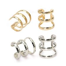 Punk Rock Triple Band Fake Ear Clip On Cuff Wrap Ear Rings Cheater Cartilage