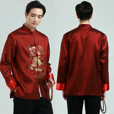 Traditional Chinese Men's Kung Fu Tai chi Coat jacket Tops Embroidery Dragon
