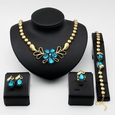 Fashion 18K Gold Plated Wedding Necklace Earrings Bracelet Ring Jewelry Set Gift