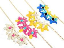 Europea Style Gold Plated Shourouk Resin Gem Rhinestone Flower Choker Necklace
