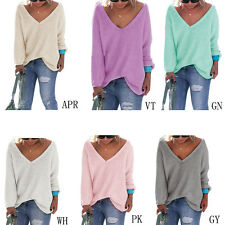 Women Loose V-Neck Long Sleeve Knitted Jumper Sweater Autumn Winter Fashion New