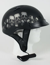 D.O.T VENTED SKULL PILE MOTORCYCLE HALF HELMET BEANIE HELMETS SHORTY LIGHTER NEW